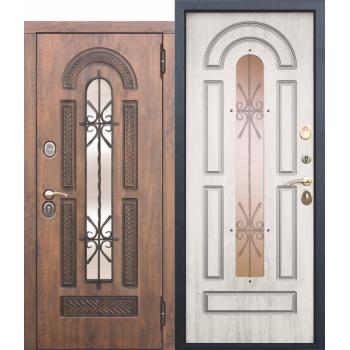 Входная металлическая дверь со стеклопакетом и ковкой Vikont белая